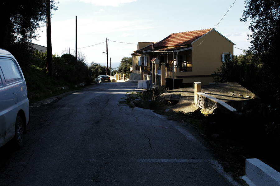 Broken road in Pentati, Corfu, Greece